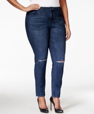 Nanette by Nanette Lepore Plus Size Nolita Ripped Empress Wash Skinny Jeans, Only at Vogily