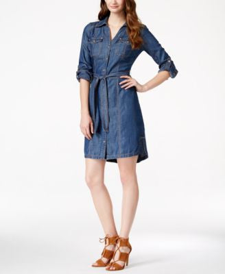INC International Concepts Denim Shirtdress, Only at Vogily