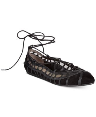 Bar III Phoebe Lace-Up Ballet Flats, Only at Vogily