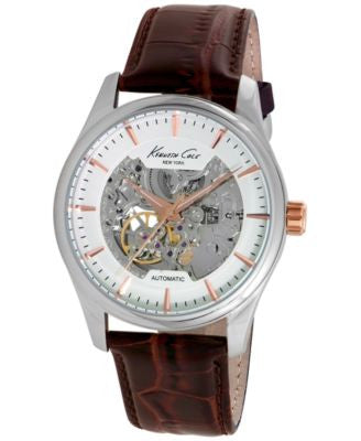 Kenneth Cole New York Men's Automatic Brown Leather Strap Watch 43mm 10027198