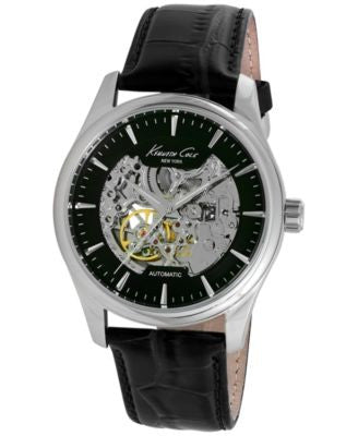 Kenneth Cole New York Men's Automatic Black Leather Strap Watch 43mm 10027199