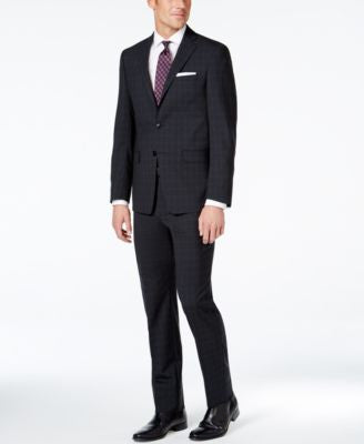 Calvin Klein X-Fit Black Tonal Plaid Extra Slim-Fit Suit