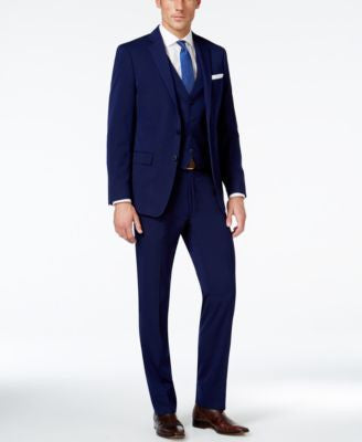 Calvin Klein Navy Solid Big and Tall Slim-Fit Vested Suit