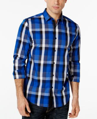 Alfani Long-Sleeve Plaid Shirt, Only at Vogily