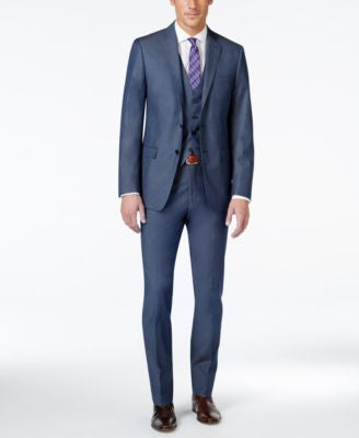 Calvin Klein X-Fit Blue Twill Extra Slim-Fit Vested Suit