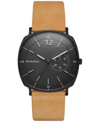 Skagen Men's Natural Leather Strap Watch 40x45mm SKW6257