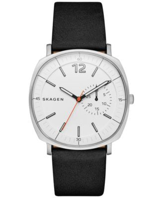 Skagen Men's Black Leather Strap Watch 40x45mm SKW6256