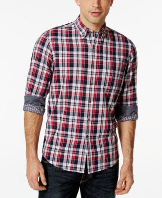Club Room Big and Tall Long-Sleeve Homestead Plaid Shirt, Only at Vogily