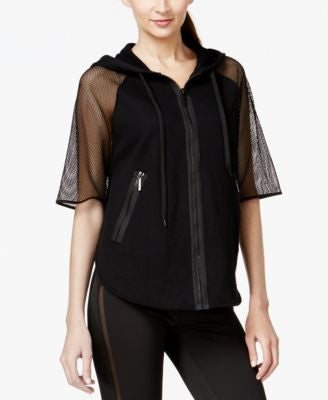 MICHAEL Michael Kors Mesh-Sleeve Hooded Active Jacket