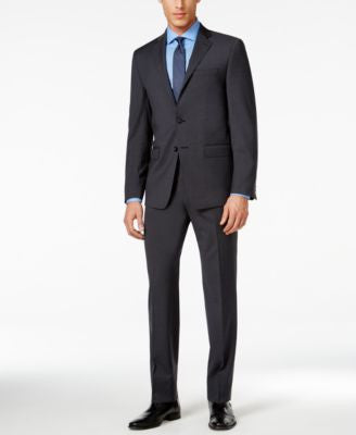 Calvin Klein X-Fit Charcoal Plaid Extra Slim-Fit Suit