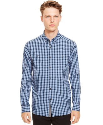 Kenneth Cole Reaction Checked Button-Down Long Sleeve Shirt