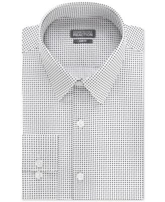 Kenneth Cole Reaction Slim-Fit Dry-Tek Performance Black and White Patterned Dress Shirt