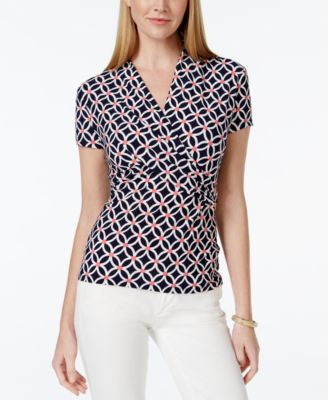 Charter Club Iconic-Print Crossover Wrap Top, Only at Vogily