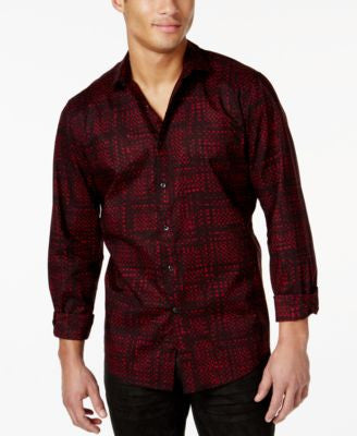 INC International Concepts Men's Modern-Print Long-Sleeve Shirt, Only at Vogily