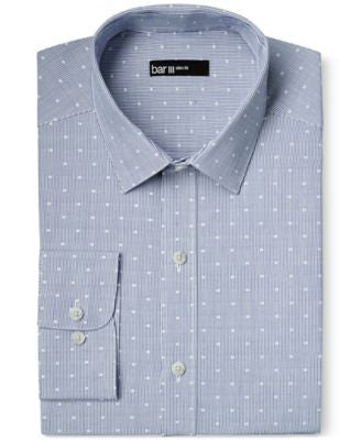 Bar III Slim-Fit Stripped Blue Dot Dress Shirt, Only at Vogily
