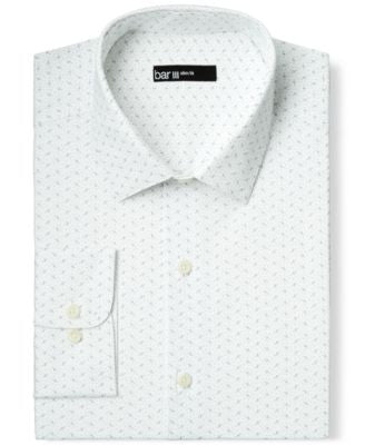 Bar III Slim-Fit Navy Dot Print Dress Shirt Dress Shirt, Only at Vogily