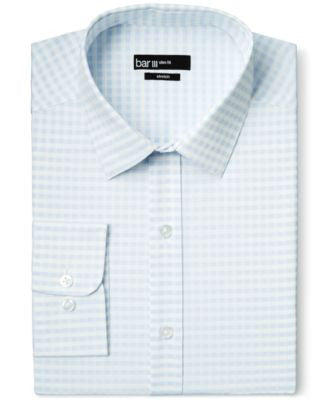 Bar III Slim-Fit Light Blue Twill Gingham Dress Shirt, Only at Vogily