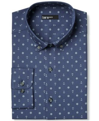 Bar III Slim-Fit Anchor Print Dress Shirt, Only at Vogily