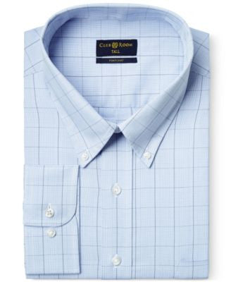 Club Room Big and Tall Wrinkle Resistant Blue Glenplaid Dress Shirt, Only at Vogily
