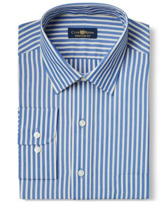 Club Room Big and Tall Wrinkle Resistant Navy Citron Stripe Dress Shirt, Only at Vogily