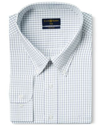 Club Room Big and Tall Classic-Fit Wrinkle Resistant White Blue Tattersall Dress Shirt, Only at Vogi