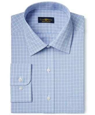 Club Room Estate Classic-Fit Wrinkle Resistant Royal Grid Check Dress Shirt, Only at Vogily