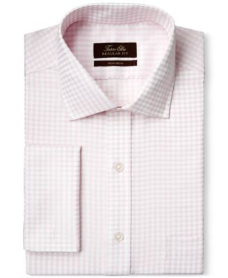 Tasso Elba Non-Iron Pale Pink Sateen Gingham French Cuff Dress Shirt, Only at Vogily