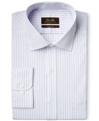 Tasso Elba Non-Iron Pale Pink Stripe Dress Shirt, Only at Vogily
