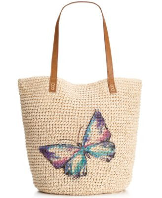 Style & Co. Butterfly Straw Beach Bag, Only at Vogily