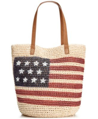 Style & Co. Flag Straw Beach Bag, Only at Vogily