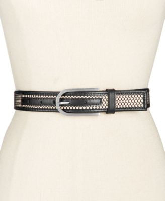 Calvin Klein Mesh Panel Leather Belt