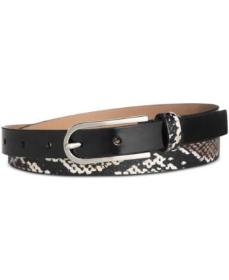 Calvin Klein Snake-Print and Patent Skinny Leather Belt