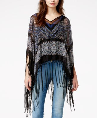Steve Madden Tribal Split-Neck Poncho