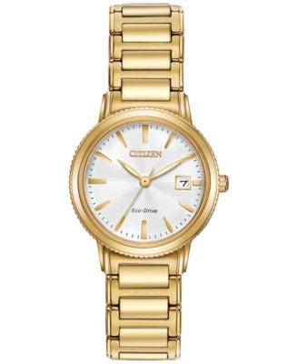 Citizen Women's Eco-Drive Gold-Tone Stainless Steel Bracelet Watch 27mm EW2372-51A