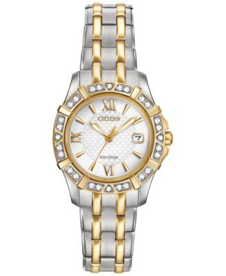 Citizen Women's Eco-Drive Diamond Accent Two-Tone Stainless Steel Bracelet Watch 26mm EW2364-50A