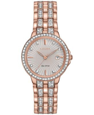Citizen Women's Eco-Drive Crystal Accent Rose Gold-Tone Stainless Steel Bracelet Watch 28mm EW2348-5