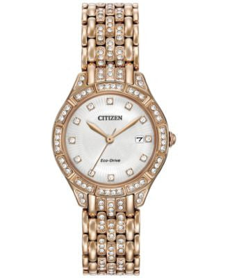 Citizen Women's Eco-Drive Crystal Accent Rose Gold-Tone Stainless Steel Bracelet Watch 28mm EW2323-5