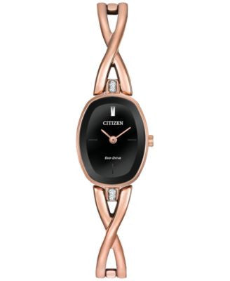 Citizen Women's Eco-Drive Rose Gold-Tone Stainless Steel Bangle Bracelet Watch 24x18mm EX1413-55E