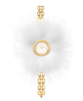 Fendi Timepieces Women's Swiss My Way Fur-Trim Gold-Tone PVD Stainless Steel Bracelet Watch 36mm F35