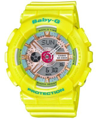 Baby-G Women's Analog-Digital Yellow Strap Watch 46x43mm BA110CA-9A