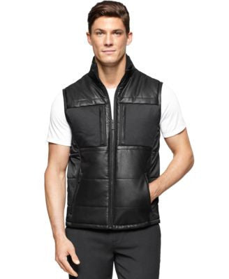 Calvin Klein Men's Mixed-Media Padded Vest