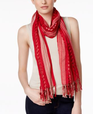 Collection XIIX Striped Open Weave Scarf