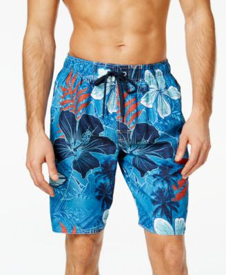 Newport Blue Men's Big and Tall Tribal Flower Swim Trunks