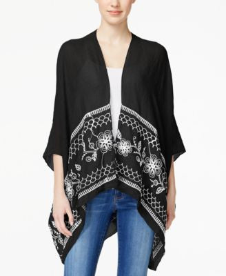 Collection XIIX Embroidered Border Poncho