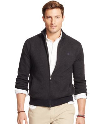 Polo Ralph Lauren Men's Full-Zip Striped Pima Sweater