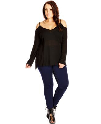 City Chic Plus Size V-Neck Cold-Shoulder Blouse