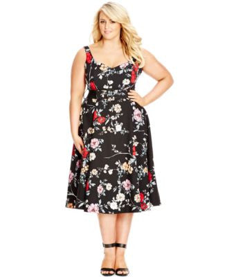 City Chic Plus Size Sleeveless Fit & Flare Floral-Print Dress