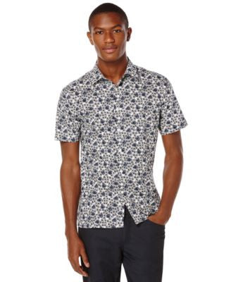 Perry Ellis Big and Tall Mini-Flower Short-Sleeve Shirt