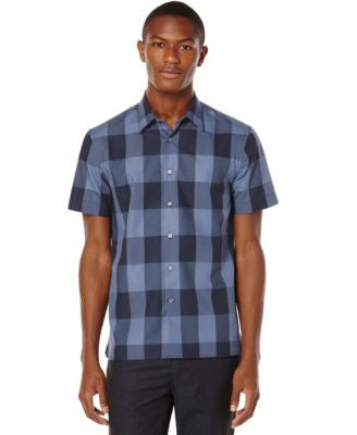 Perry Ellis Large-Scale Plaid Short-Sleeve Shirt