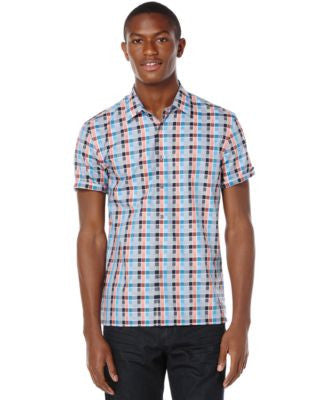 Perry Ellis Big and Tall Box Check Short-Sleeve Shirt